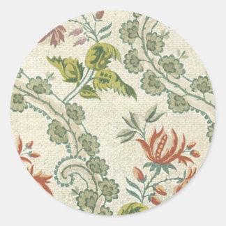 Blom- tyg för vintage (147) rund klistermärke