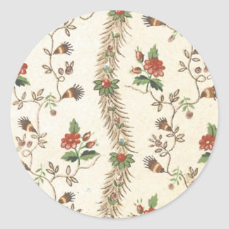 Blom- tyg för vintage (155) rund klistermärke