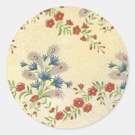 Blom- tyg för vintage (158) klistermärke
