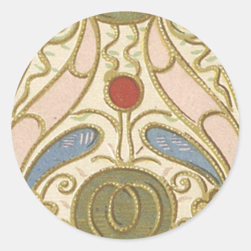 Blom- tyg för vintage (171) runda klistermärken