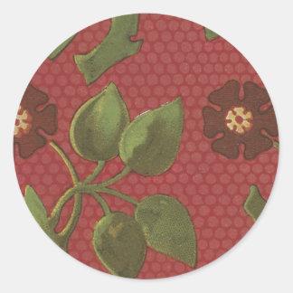 Blom- tyg för vintage (189) rund klistermärke