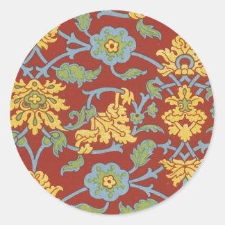 Blom- tyg för vintage (18) runda klistermärken