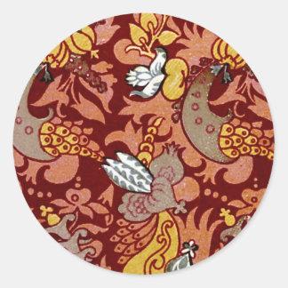 Blom- tyg för vintage (201) runda klistermärken