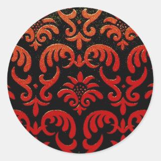 Blom- tyg för vintage (56) runda klistermärken