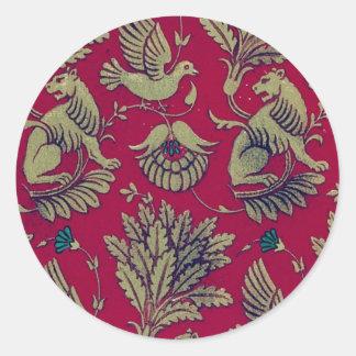 Blom- tyg för vintage (9) runda klistermärken