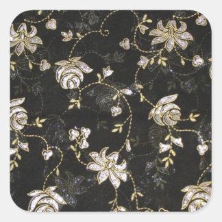 Blom- tygtextildesign fyrkantigt klistermärke