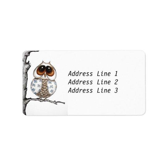Blom- ugglaadressetikett adressetikett