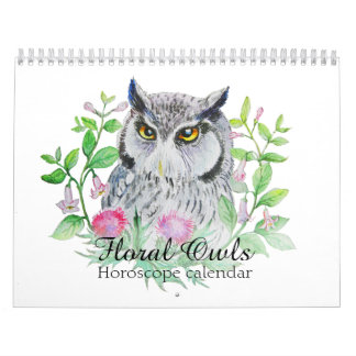 Blom- ugglor som ditt blommahoroskop undertecknar kalender