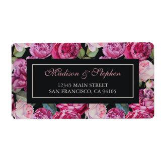 Blom- vattenfärg för rosa ros - bröllop fraktsedel