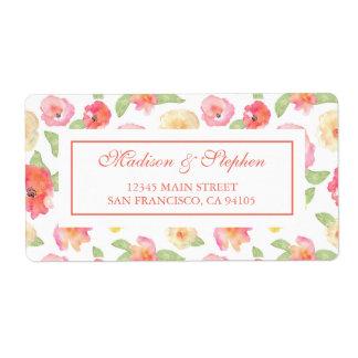 Blom- vattenfärg för rosor & för gult - bröllop fraktsedel