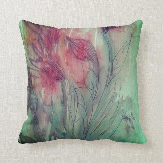 Blom- vattenfärg kudde