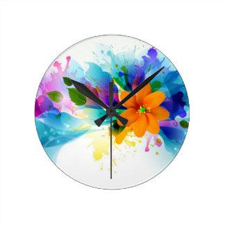 Blom- vattenfärg rund klocka