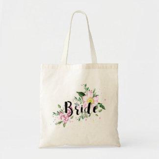 Blom- vattenfärgbröllop för brud budget tygkasse