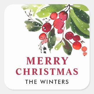 Blom- vattenfärgjul för god jul   fyrkantigt klistermärke