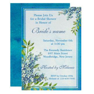 Blom- vattenfärgmöhippa för moderiktiga blått 12,7 x 17,8 cm inbjudningskort