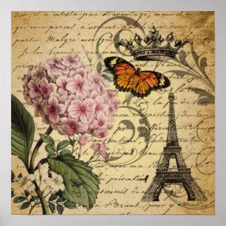 Blom- vintage paris för elegant botanisk konst poster
