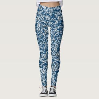Blom- vintagedamasker för blått leggings