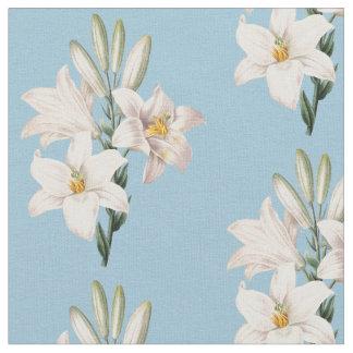 Blom- vintagevitliljar tyg