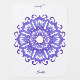 Blom- violett mandala. Namn Bebisfilt