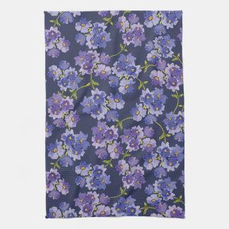 Blom- WatercolourTea för lilor & för blått handduk Kökshandduk