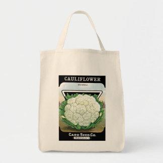 Blomkålen kärnar ur paketetiketten tygkasse