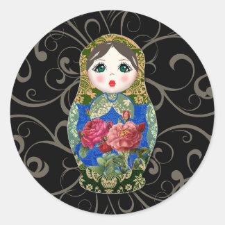 Blomma 2 för ro Babushka för rysk docka färgglad Runt Klistermärke