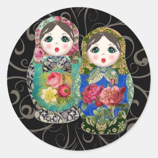 Blomma 3 för ro Babushka för rysk docka färgglad Runt Klistermärke