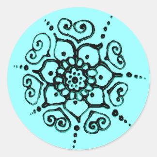 Blomma av kärlek (Henna) (turkos) Runt Klistermärke
