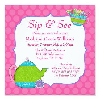 Blomma den rosa polkaen för Teakoppar pricker Fyrkantigt 13,3 Cm Inbjudningskort