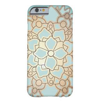 Blomma för blått- och Fauxbladguldlotusblomma Barely There iPhone 6 Skal