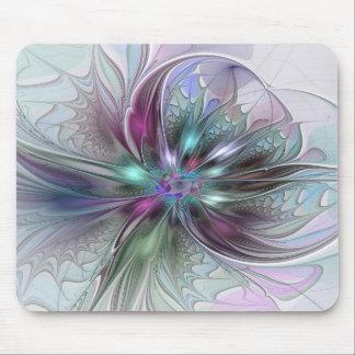 Blomma för Fractal för färgrik fantasiabstrakt Musmatta