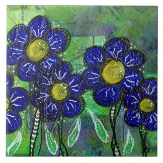 Blomma för klotterblåttballong kakelplatta