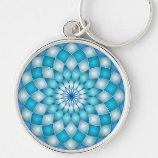 Blomma för lotusblomma för Keychain Rund Silverfärgad Nyckelring