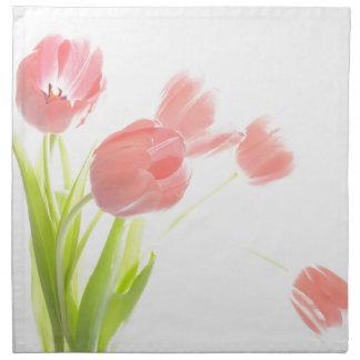 Blomma för tulpan för trasaservetter retro rosa tygservett