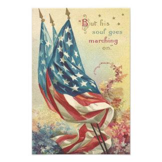 Blomma för US-flaggaminnesdagen Fototryck