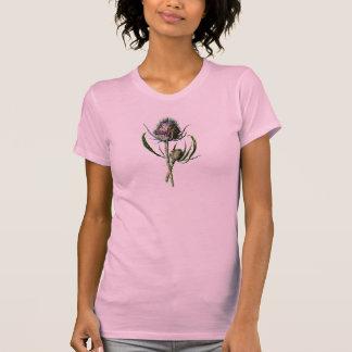 Blomma för vild för skotsk Thistle för vintage T-shirt