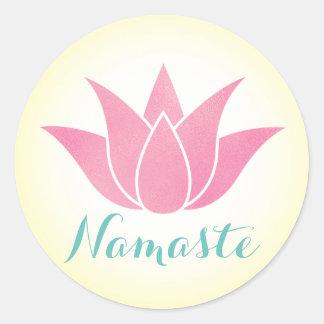 Blomma för YogaNamaste lotusblomma Runt Klistermärke