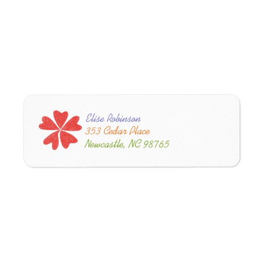 Blomma hjärtareturadressetikett returadress etikett