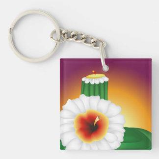 Blomma kaktus fyrkantigt dubbelsidigt nyckelring i akryl
