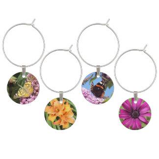 Blomma- och fjärilsträdgårdparty berlock vinglas