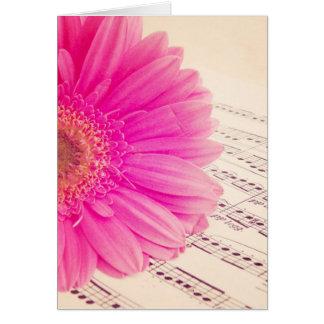 Blomma och melodi hälsningskort