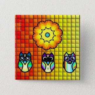 Blomma och ugglor med belagd med tegel bakgrund standard kanpp fyrkantig 5.1 cm