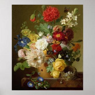 Blomma stilleben på en marmoravsats, 1800-01 poster