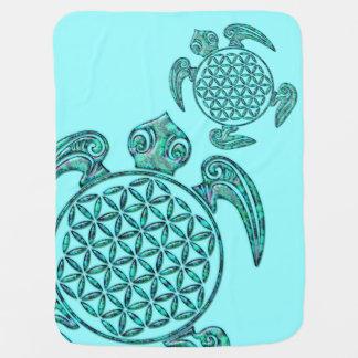 Blomma turkos för sköldpadda av för liv-/Blume des Bebisfilt