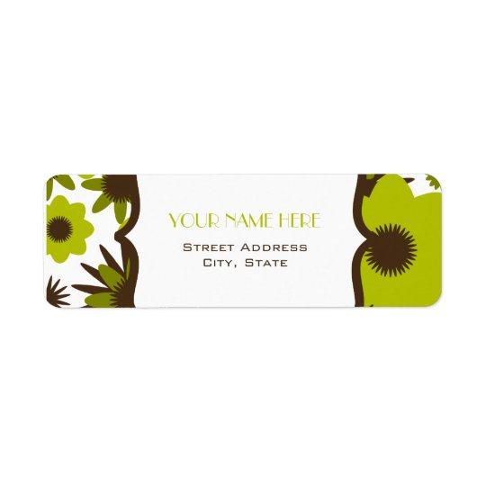 Blommaadressetikett - Retro gröntblommor Returadress Etikett