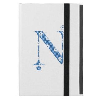 blommaalfabet N (blått och pricker), iPad Mini Skal