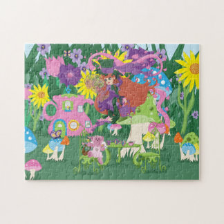 Blommafe och pussel för party för ängelbjörnTea