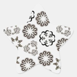 Blommamönster Stjärnformat Klistermärke