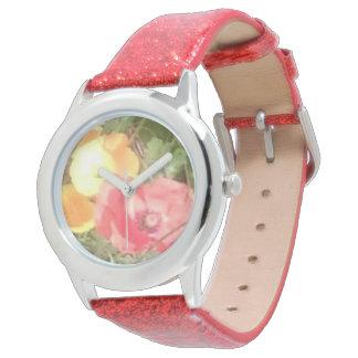 Blomman & den röda glitterklockan men u kan välja armbandsur