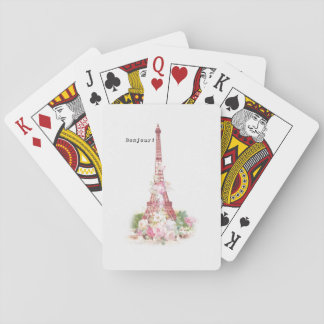 BlommaParis Eiffel för vintage flickaktigt rosa Casinokort
